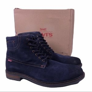 Levi's Sheffield Suede Navy Leather Work Boots